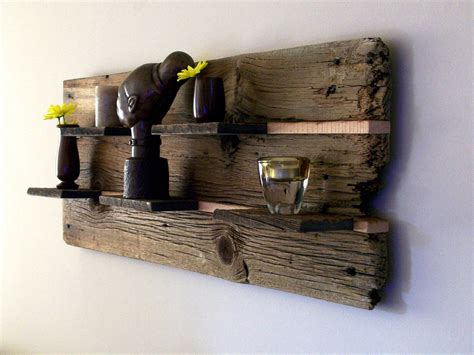 rustic reclaimed barn wood wall shelf