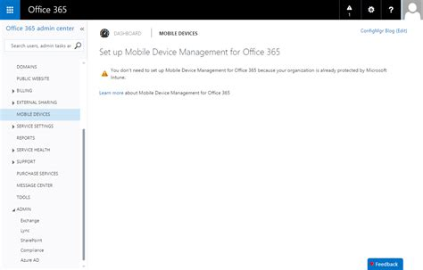 Office 365 Portal Features Office 365 Configuration Manager