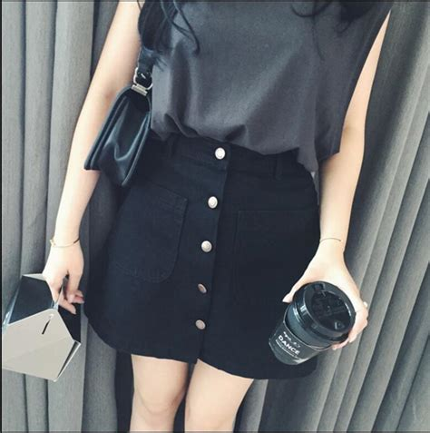Achicgirl Fashion High Waist Button Front Denim Shorts P 10303 by New Summer Womens A Line Pencil Skirt Front