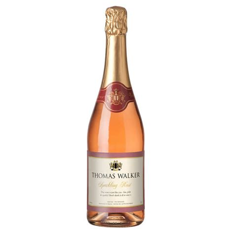 personalised sparkling rose wine with silk rose buy from