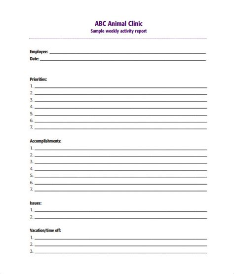 activity report template sle weekly activity report 15 documents in word pdf