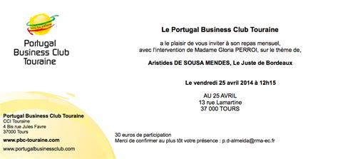 Modèle Lettre D Invitation Repas Repas Mensuel Avril 2014 Conf 233 Rence Sur Aristides De Sousa Mendes Portugal Business Club