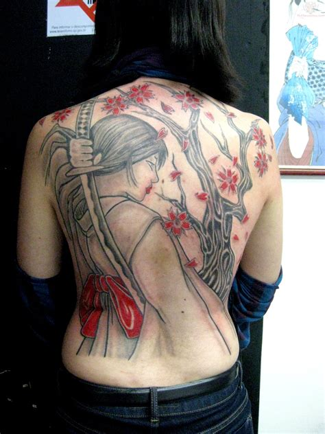 back tattoo girl samurai grey ink on back