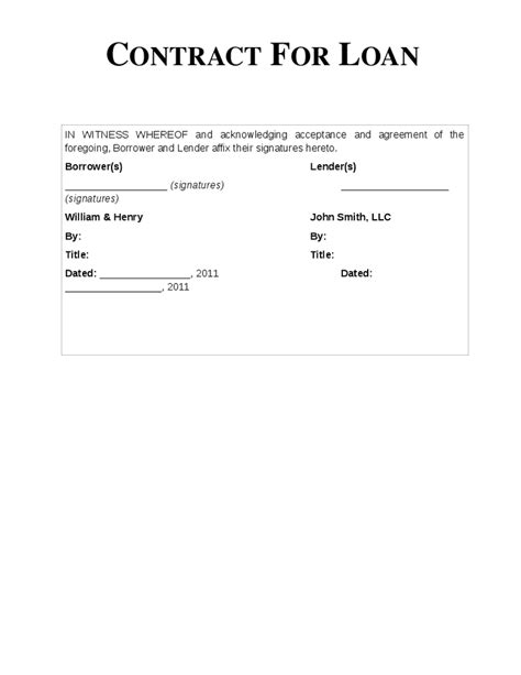 loan repayment contract free template loan contract free printable documents