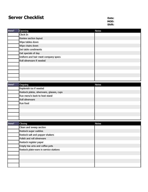 restaurant checklist template restaurant server checklist form organizing