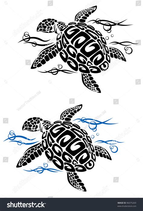 cartoon turtle tattoo designs turtle sea water style stock vector