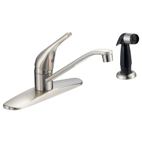 kitchen faucet home depot ez flo prestige single handle standard kitchen faucet with black side sprayer and washerless