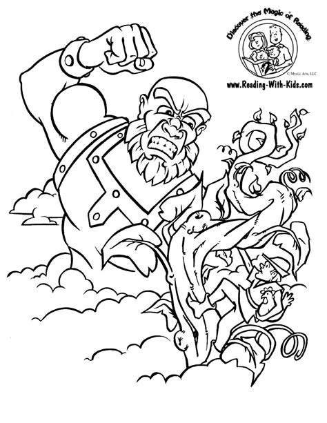 Free Coloring Pages Of Jack And The Bean Stalk And The Beanstalk Coloring Page