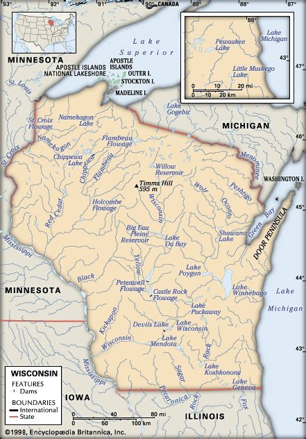 physical map of wisconsin wisconsin physical features encyclopedia