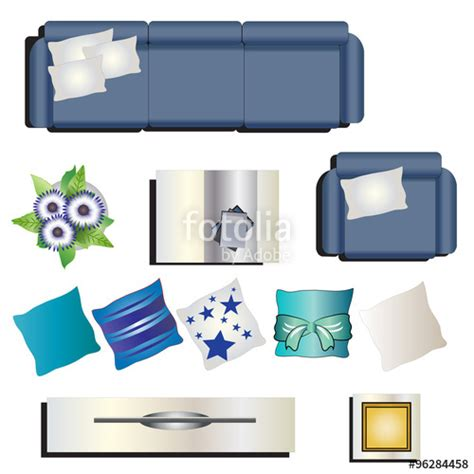 living room top view quot living room furniture top view set 8 for interior vector illustration quot stock image and