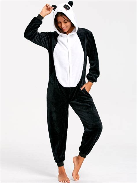 Animal Onesie Pajama black white xl panda animal onesie pajamas