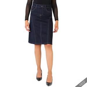 womens classic a line denim skirt stretch pencil