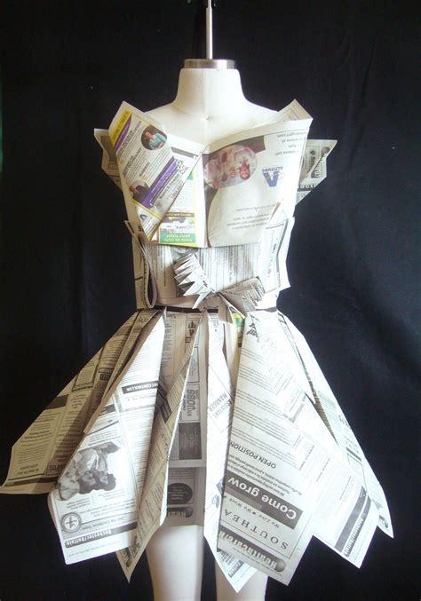 Paper Dress Craft - newspaper dress craft ideas newspaper