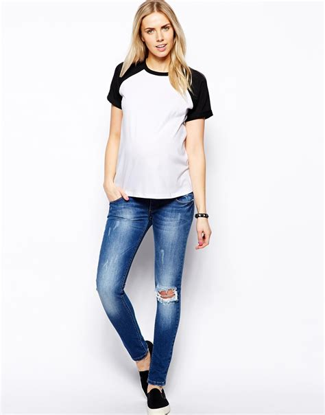 design free asos t shirt asos baseball tshirt with short sleeve in black lyst