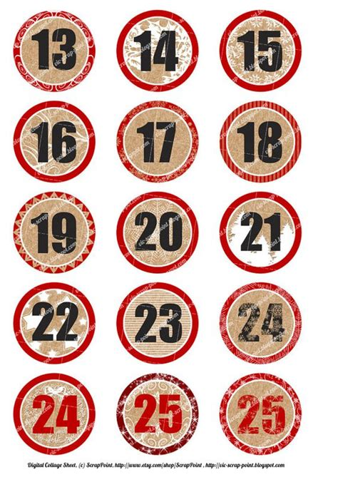 printable numbers 1 24 daily number december daily and december on pinterest