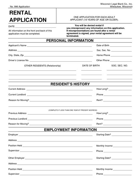 printable rental application form free 10 best images of generic rental agreement pdf free