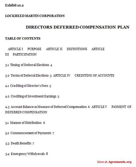 directors deferred compensation plan agreement sle