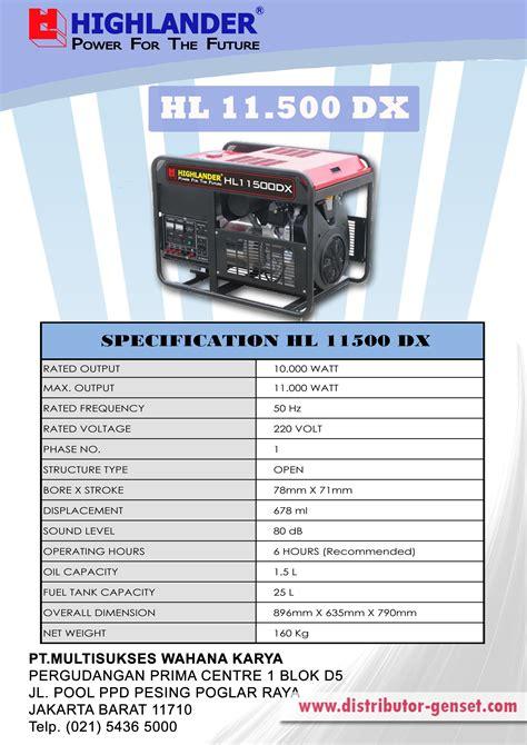 Highlander Genset Hl 11500 Dx jual genset portable hl 11 500 dx highlander