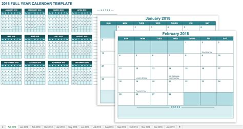 2018 calendar with holidays printable yearly calendar template