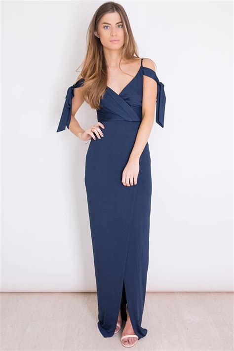 Emilia Dres By Alila Jersey in mind navy cold shoulder gown alila boutique
