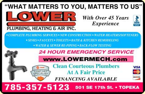 Plumbing Supply Topeka Ks by Lower Plumbing Heating Air Conditioning Topeka Ks