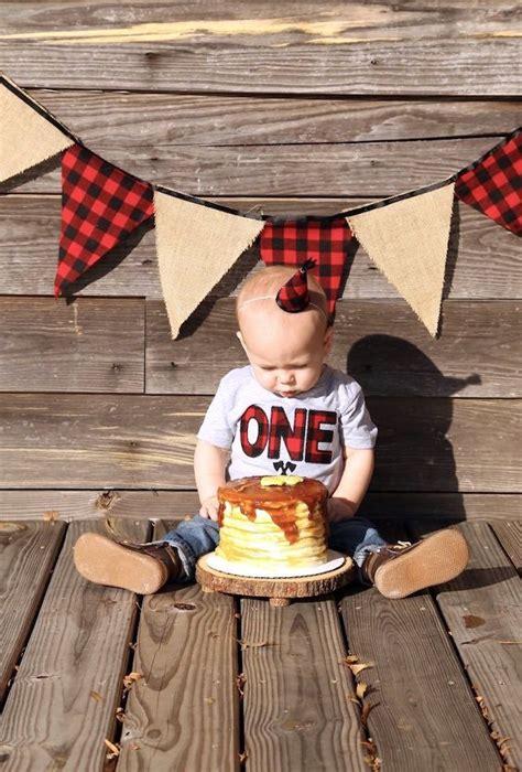 lumberjack cake smash boy st birthday images  pinterest lumberjack cake