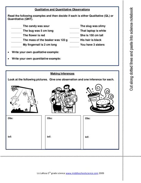 Qualitative Vs Quantitative Observations Worksheet by Printables Observations And Inferences Worksheet
