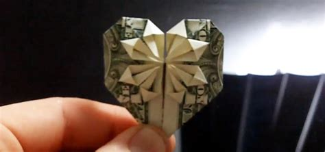 Folding Paper Money Into Shapes - how to fold beautiful origami hearts using real dollar