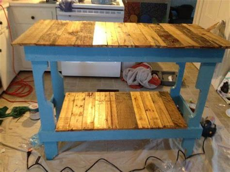 Custom Kitchen Island Cost by Diy Rustic Pallet Kitchen Island 101 Pallets