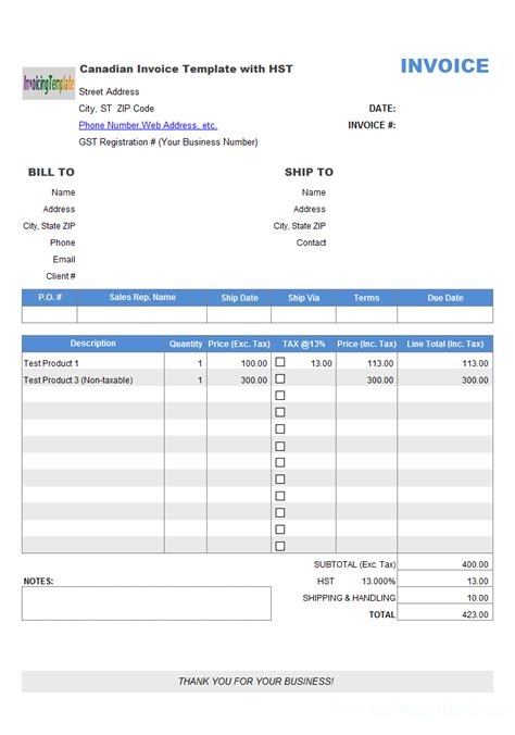 invoice template canada canadian invoice template with hst