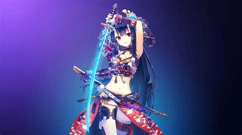 wallpaper anime girl 4k wallpaper warrior girl katana girl 4k anime 4506