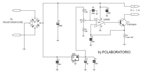 alimentatore corrente costante schema elettrico alimentatore a corrente costante fare