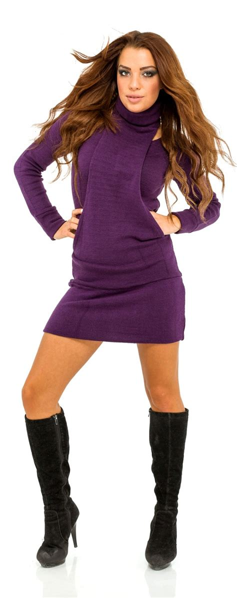 bernat dress with kangaroo pockets and scarf knit pattern glamour empire women s turtleneck stretchy knit jumper