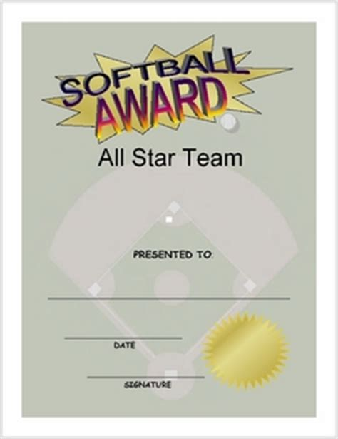 free softball certificate templates softball award certificate and print 80