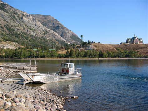 waterton boat boat on waterton lake at the prince of wales resort at