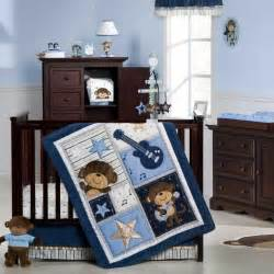 Baby Boy Crib Bedding Sets Monkey Blue Guitar Monkey Rock Baby Boy 4pc Crib Bedding Set