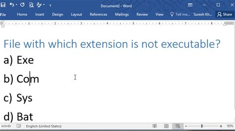 file format quiz file with which extension is not executable a exe b com