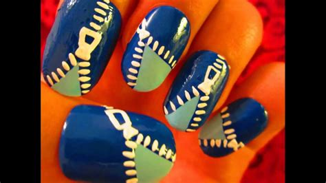 Nail Art Tutorial Funky Blue Zipper | nail art tutorial funky blue zipper youtube