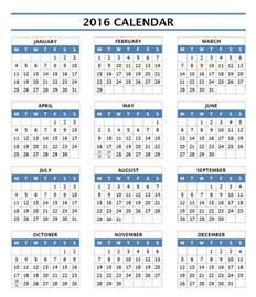 1 Year Calendar Template by 2016 Year Calendar Template Free Microsoft Word Templates