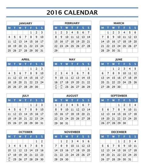 2016 year calendar template free microsoft word templates