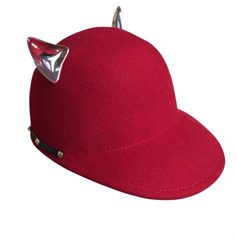 custom new style plain wool baseball cap with cat ear for