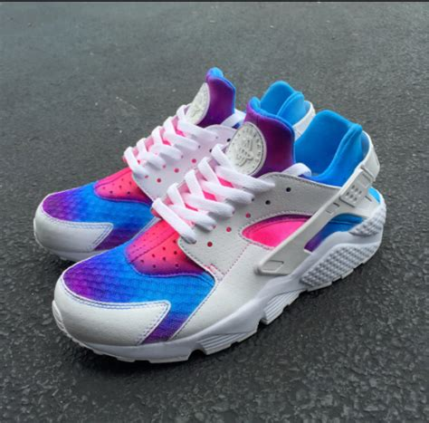 Nike Air Grey Pink Sol Rainbow nike air huarache customise white blue pink rainbow s s running shoes trainers