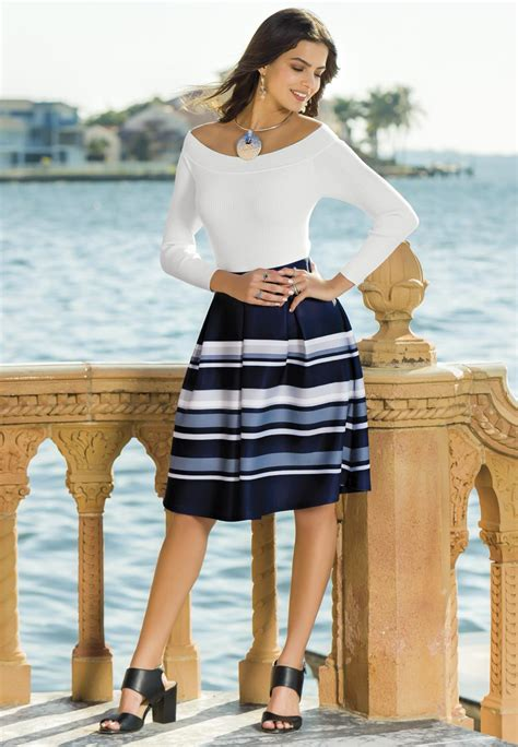 pleated striped midi skirt below the knee cato fashions