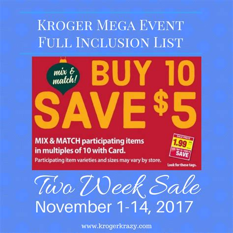 here it is kroger s full inclusions list for their buy 6 kroger mega event buy 10 save 5 full inclusion list 2