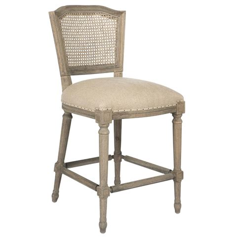 Country Stools by Camilla Country Washed Taupe Linen Counter Stool