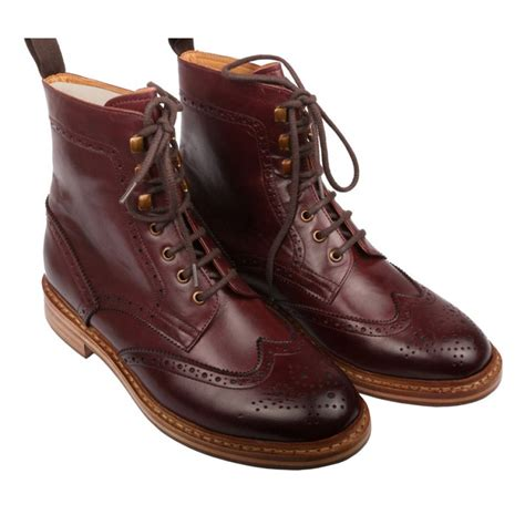mens high boots leather handmade year welted sole boot maroon ankle