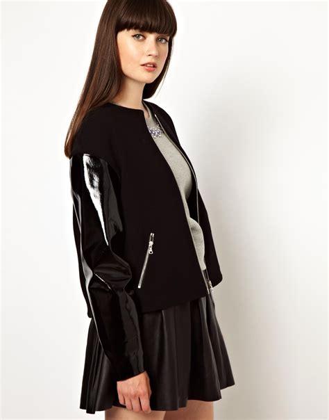 Nerina Black Bomber Jacket lyst asos markus lupfer patent leather sleeved bomber jacket in black