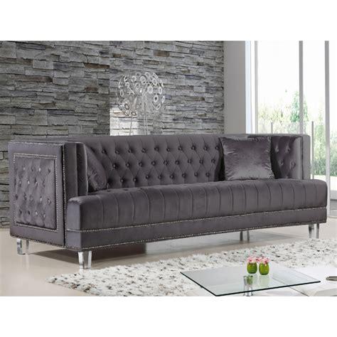 gray velvet sofa with nailheads gray velvet sofa with nailheads gray tufted velvet sofa