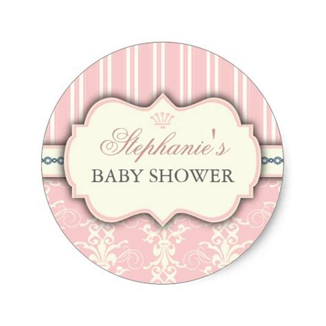 Sticker Labels For Baby Shower Favors by Chic Damask Stripe Baby Shower Favor Sticker Zazzle