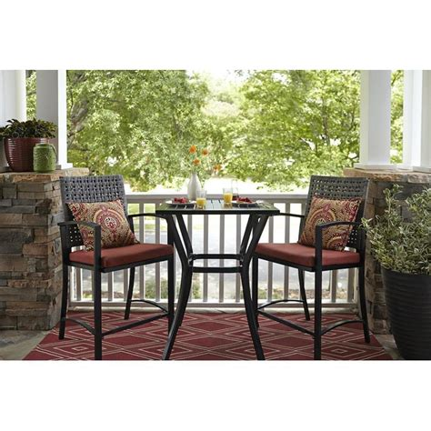 Black Patio Furniture Sets Shop Garden Treasures Lunburg 3 Black Aluminum Wicker Dining Patio Dining Set With